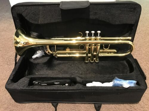 BRAND NEW TRUMPET Bb GOLD WITH CASE - SCHOOL STUDENT BEST QUALITY <br/> EXTRA 10% OFF - Try Code PADDLE at Checkout T&Cs Apply