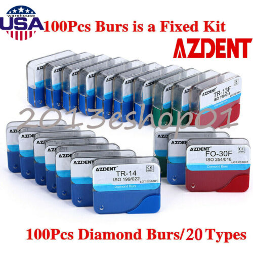 100pcs Dental Diamond Burs Drill Fg 1.6mm For High Speed Handpiece 20 Type Usps