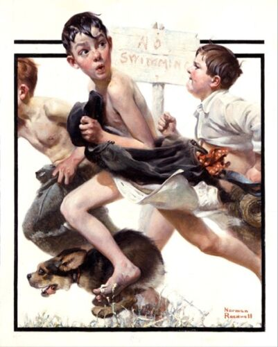 NORMAN ROCKWELL BOYS CAUGHT NO SWIMMING ARTOIL PAINTING PRINT ON CANVAS PRINT