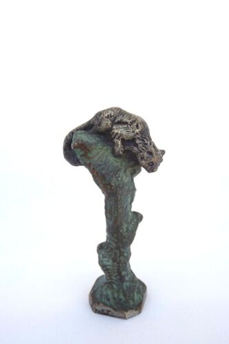 French Albert Marionnet Bronze Cat on Tree Trunk Wax Seal Stamp 19th.c