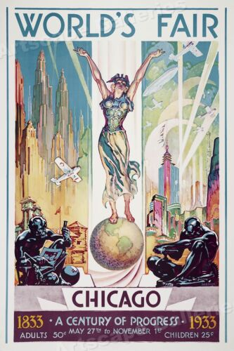 1833-1933 Chicago Worlds Fair A Century of Progress Vintage Travel Poster  24x36