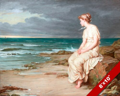 YOUNG GIRL WOMAN WATCHING SEA OCEAN OIL PAINTING ART GICLEE PRINT ON REAL CANVAS