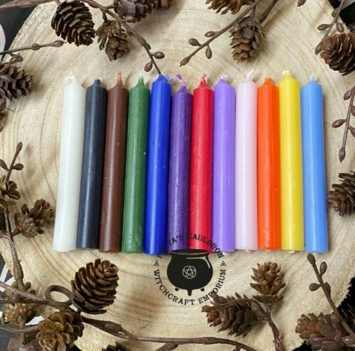 10 Witches Spell Candles ~ 10cm 10 Solid Colours ~ Plus Info Sheet  Ritual Altar