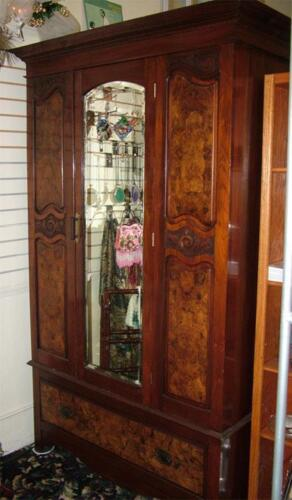 Must sell Antique Beautiful Walnut Burlwood Armoire w/Mirror.