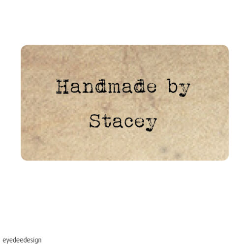 130 x Personalised Mini Handmade by Shabby Vintage Rustic Favour Stickers- 369