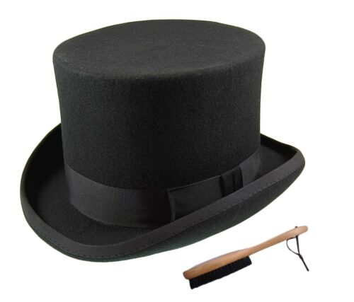 Quality Hand Made 100% Wool Top Hat Wedding Ascot Hat Many Colours S to XXL <br/> Free Hat Cleaning Brush With Every Order
