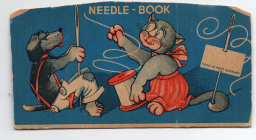 1950s Needle Case with Dog & Cat Graphics from West Germany