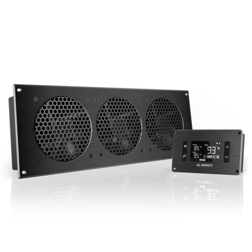 """AIRPLATE T9, Cooling Fan System 18"""" Thermostat Control, Home Theater AV Cabinets"""