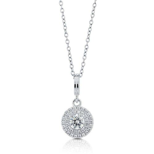BERRICLE Sterling Silver Halo Pendant Necklace Made with Swarovski Zirconia