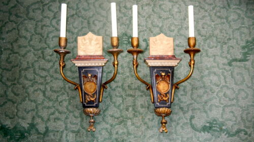 A Pair of 19th C. Neoclassical Marble / Giltwood Wall Sconces, Electrified.