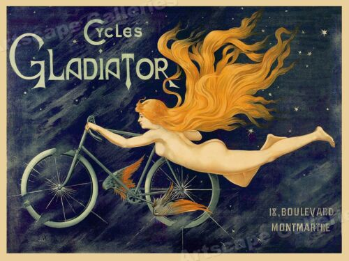 """Cycle Gladiator"" - Classic 1895 Art Nouveau Classic Bicycle Poster - 18x24"
