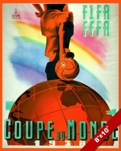VINTAGE 1938 FIFA WORLD CUP FRANCE POSTER SOCCER PAINTING ART REAL CANVAS PRINT