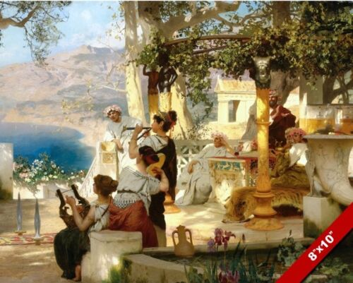 ANCIENT ROMAN ENTERTAINMENT PARTY MUSIC PAINTING ROME ART REAL CANVAS PRINT