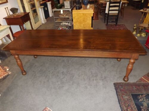 Incredible 8' Quartersawn oak farm harvest library dining table