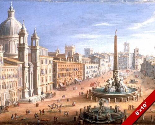 VIEW OF PIAZZA NAVONA PAINTING ROMAN CENTER OF ROME ITALY ART REAL CANVAS PRINT