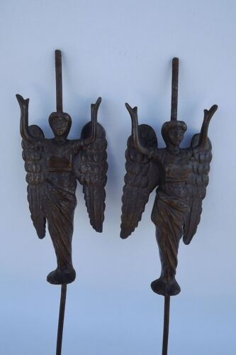 Antique French Pair Decorative Bronze Furniture Chandelier Winged Woman Angel