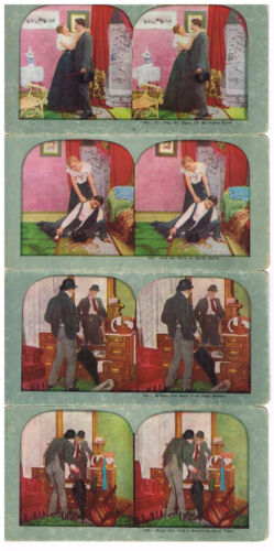 Antique Cardboard Stereoscope Stereoview Cards Jag Man Goes Out Has Drinks Set 4