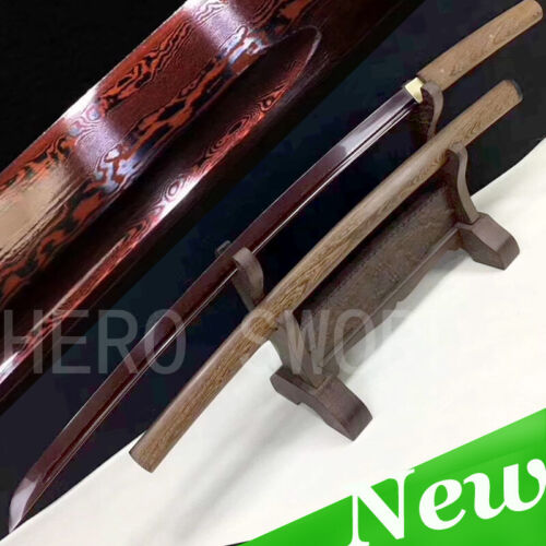 Red Damascus Steel Samurai Katana Full Tang Rose Wood shirasaya Japanese Sword