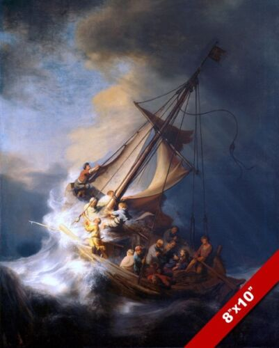MASTER THE TEMPEST IS RAGING PAINTING JESUS CHRISTIAN BIBLE ART CANVAS PRINT