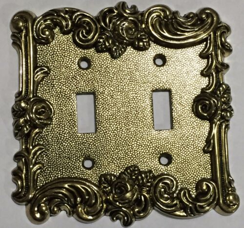 Gold Victorian Antique Vintage Rose 2 toggle Light Switch Cover Plate outlet NEW