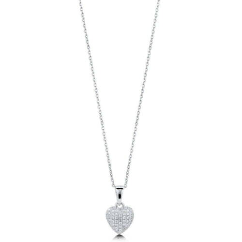 BERRICLE Sterling Silver CZ Heart Pendant Necklace