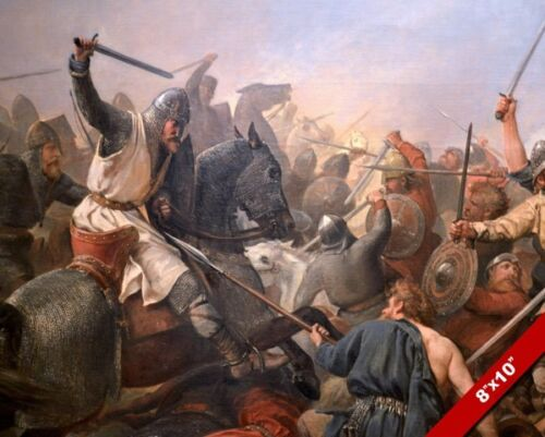 BATTLE OF STAMFORD BRIDGE PAINTING VIKING INVASION ENGLAND WAR ART CANVAS PRINT