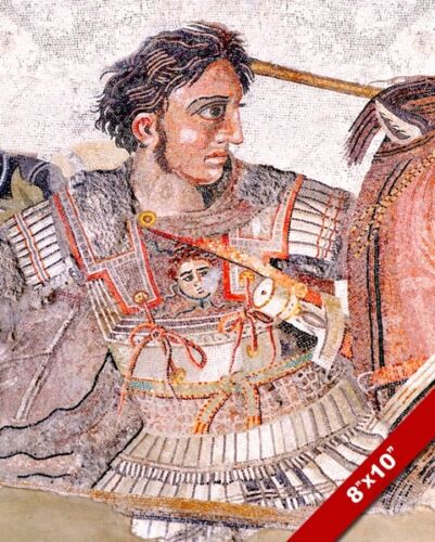 ALEXANDER THE GREAT MOSAIC PORTRAIT PAINTING ISSUS WAR ART REAL CANVAS PRINT