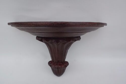 French Hand Carved Polychrome Garnet Gilded Line et Wood Statue Console Shelf