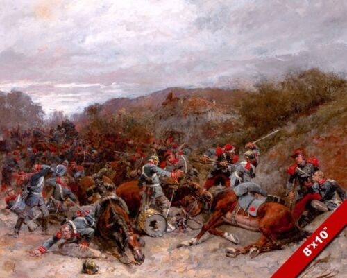 FRANCO PRUSSIAN WAR BATTLE COMBAT SCENE PAINTING ART REAL CANVAS PRINT