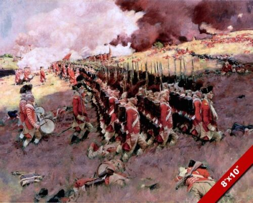 REDCOATS MARCHING ON BATTLE OF BUNKER HILL PAINTING WAR ART REAL CANVAS PRINT