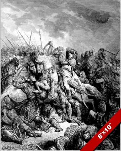 RICHARD THE LIONHEART DEFEATS SALADIN PAINTING 3RD CRUSADE WAR ART CANVAS PRINT