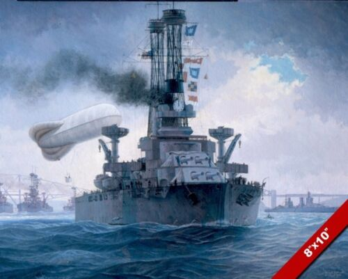 US NAVY 6TH BATTLE SQUADRON GRAND FLEET PAINTING WAR ART REAL CANVAS PRINT