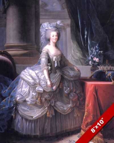 MARIE ANTIONETTE QUEEN OF FRANCE IN SATIN DRESS PAINTING REAL CANVASART PRINT