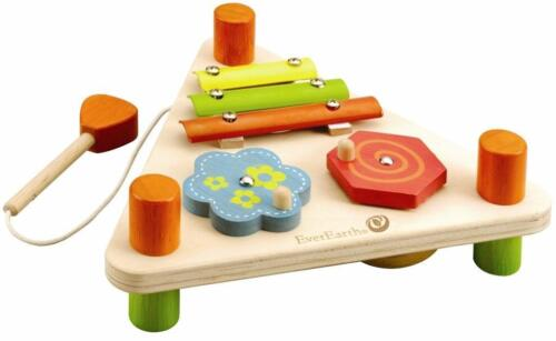 NEW Children's Wooden Flip Over Triangle Musical Set with Xylophone, Drum