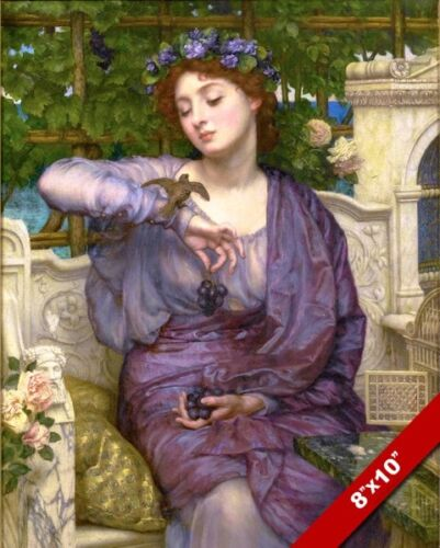 BEAUTIFUL WOMAN ADORNED WITH PURPLE GRAPES ROMAN THEME PAINTING ART CANVAS PRINT
