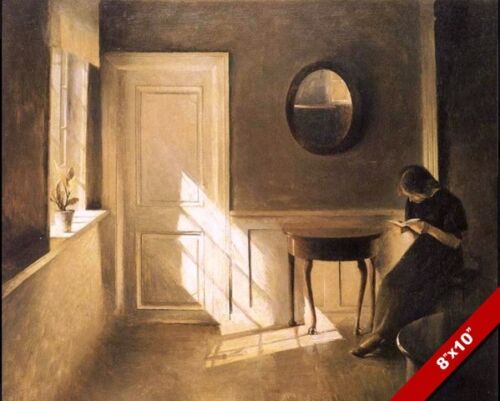 YOUNG WOMAN READING A BOOK IN A SUNLIT ROOM PAINTING ART REAL CANVAS PRINT
