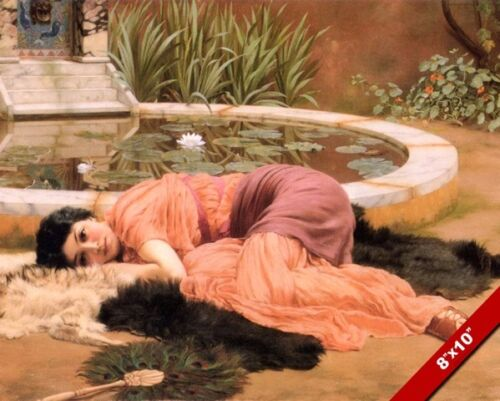 SWEET NOTHINGS YOUNG WOMAN LAYING REST ON FURS PAINTING ART REAL CANVAS PRINT