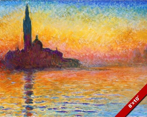 SUNSET VIEW OF ST GEORGES GRENADA CLAUDE MONET PAINTING ART REAL CANVAS PRINT