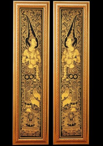 Home Decor Lacquer Black Gilted Thai Art 2 DVARAPALA Handmade God of door Guard