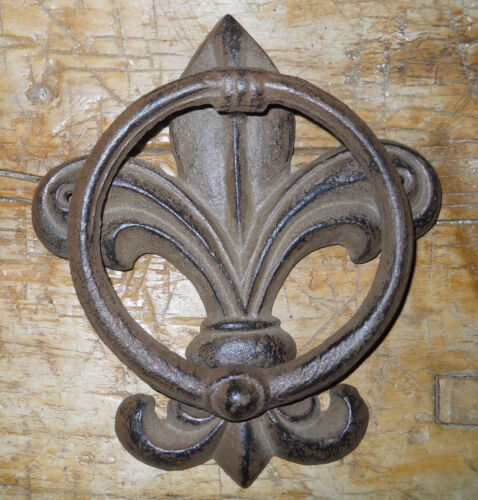 Cast Iron Antique Style FLEUR DE LIS Door Knocker Brown Finish