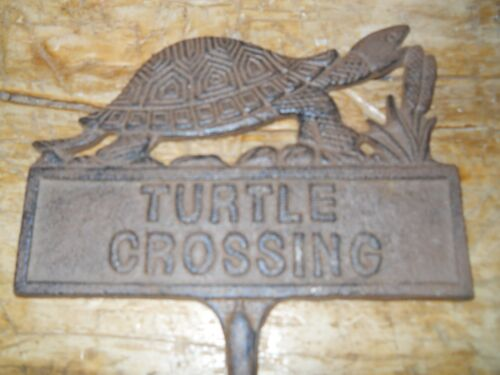 Cast Iron TURTLE CROSSING Sign Garden Stake Home Decor Pond Plaque