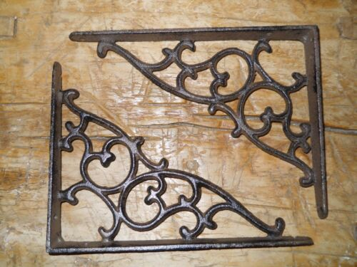 6 Cast Iron Antique Style SM Leave & Vine Brackets Garden Braces Shelf Bracket