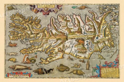 1590 Iceland Sea Monsters Historic Vintage Map - 16x24