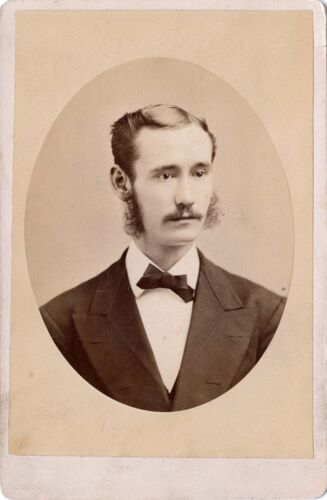 ANTIQUE CABINET PHOTO OF HANDSOME MAN WITH MUSTACHE/WHISKERS & DANA, N.Y. STUDIO