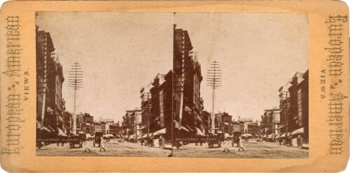 BROADWAY, ALBANY, NY - STREET SCENE  & ANTIQUE STEREOVIEW PHOTO