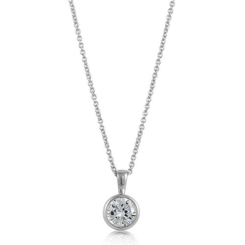 BERRICLE Sterling Silver Round Cut CZ Solitaire Pendant Necklace 1.28 Carat