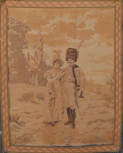Antique French Romantic Tapestry Signed Paul. GROLLERON Empire Hussar Soldier