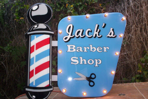 """Marquee Barber Shop sign, Lights up! Custom made Big 29"""" wide! Glass finish!"""
