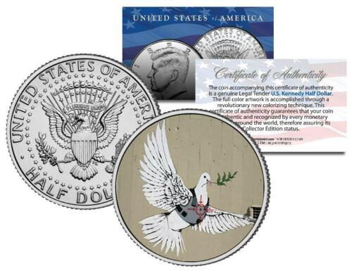 BANKSY * ARMORED DOVE OF PEACE * Colorized JFK Half Dollar Coin VEST CROSSHAIRS