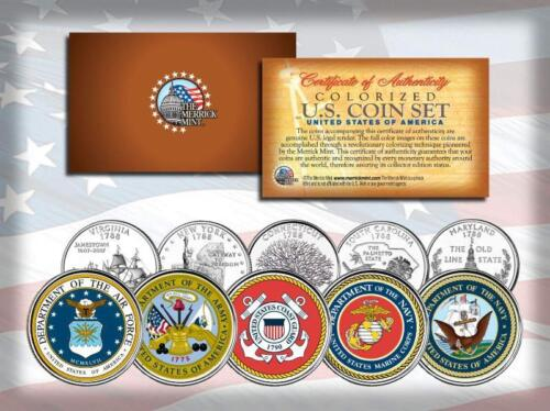 U.S. ARMED FORCES MILITARY LOGOS US STATE QUARTER 5-COIN SET ARMY MARINES NAVYMarine Corps - 66531